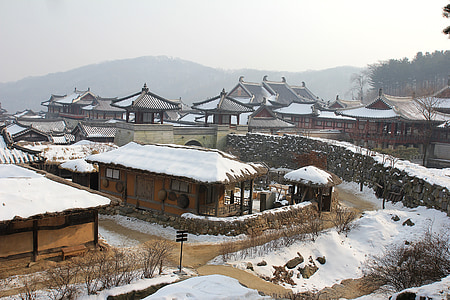 pagoda temples covered with snow