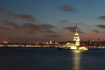 Maiden's Tower, Istanbul, Turkey during nighttime