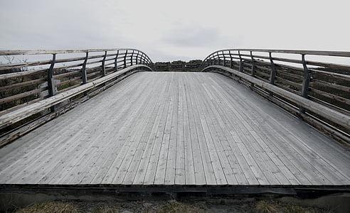 photography of gray wooden bridge
