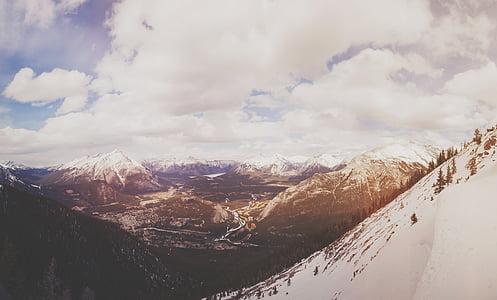 aerial photo of alpine mountain