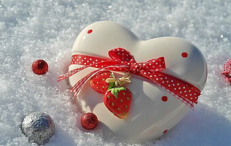white and red heart decor