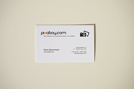 closeup photo of Pixabay business card