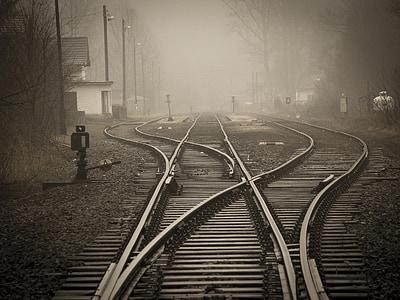 photo of foggy train railway near bare trees