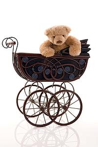 brown bear plush toy on stroller