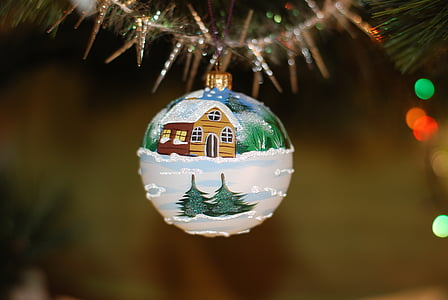 house on snow terrain graphic print Christmas bauble