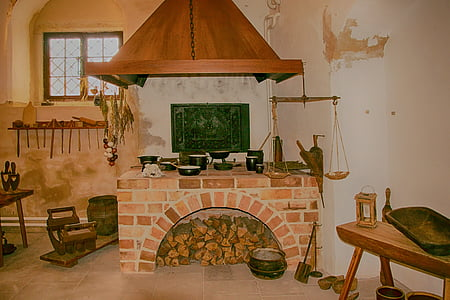 black cookware set on fireplace