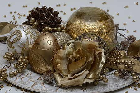 gold and silver decorative flowers and balls