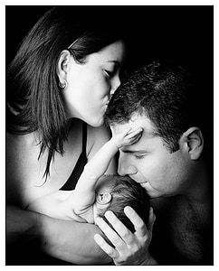 parents, couple, pregnancy, newborn, black And White, love