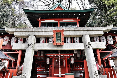 white, red, and green shrine, Japan