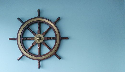 brown shipping steering wheel wall decor