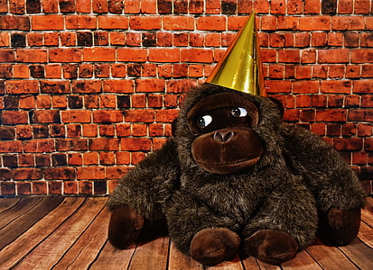 gorilla with party hat plush toy