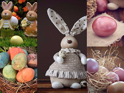 bunny figurine and egg collage