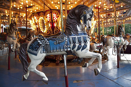 time lapse photograph of horse carousel