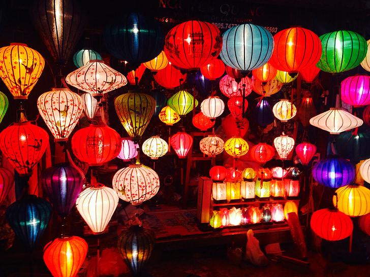 assorted-color paper lanterns