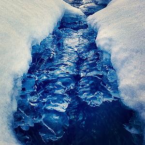 landscape, brook running, frozen, winter, ice, wintry
