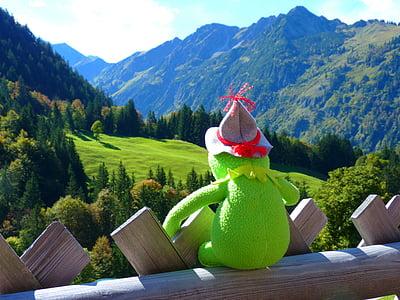 Kermitt the frog sitting on terrace facing mountain