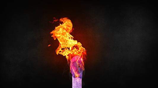 flaming stick with black background