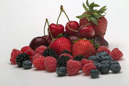 raspberries, cherries and straberries