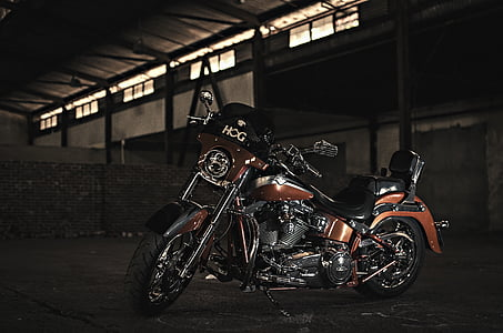 brown and black cruzer motorcycle