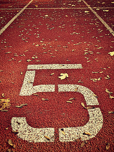 red and white 5-printed track field