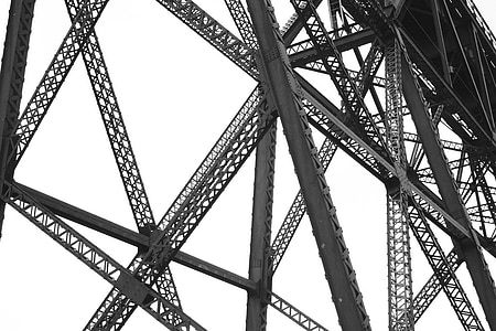 low-angle photo of gray metal structure