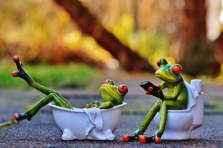 green frog sitting on toilet and lying on bathtub