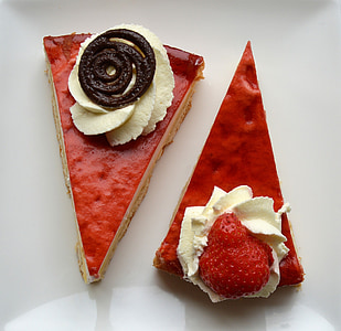 two slice of strawberry cakes