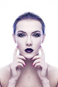 woman with purple lips