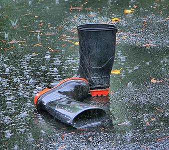 photo of black rain boots