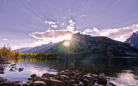 sunset near mountain