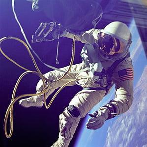 astronaut wearing white overalls