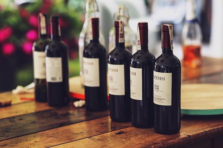 bottle, wine, red, alcohol, couple, dinner