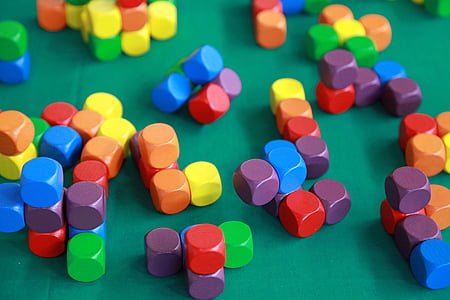assorted-color wooden cube lot