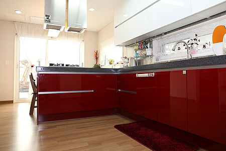 photo of red kitchen cabinet