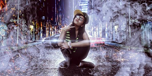 girl sitting near luxury cars digital wallpaper