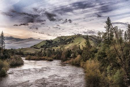 american river, california, landscape, scenic, sky, clouds