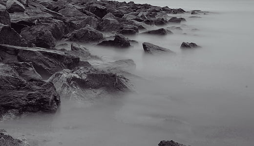 grayscale photography of rocks