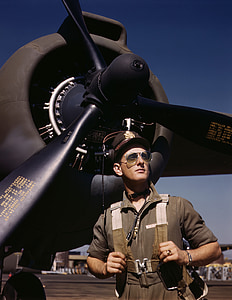 man standing in front of the airplane