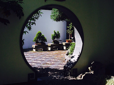 round mirror with brown wooden frame