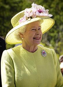Queen Elizabeth II wearing yellow sun hat