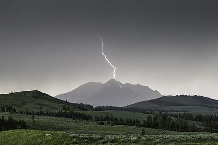 lightning streak on mountain