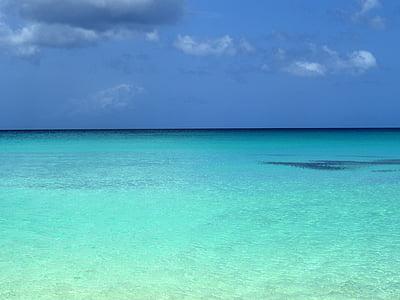 teal sea under blue sky