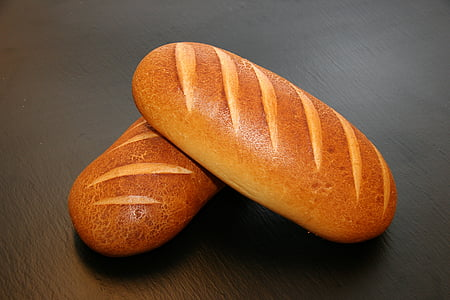 two oval breads