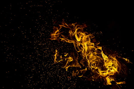 illustration fire with black background