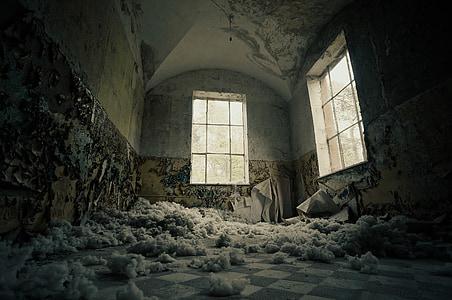 ruin white and black concrete room
