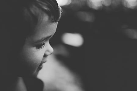 grayscale photo of toddler