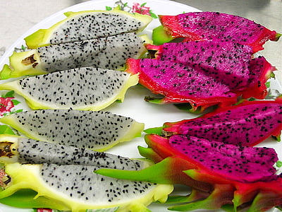 plate of sliced dragon fruits