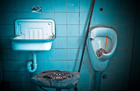 photo of bowl sink and men's toilet bowl