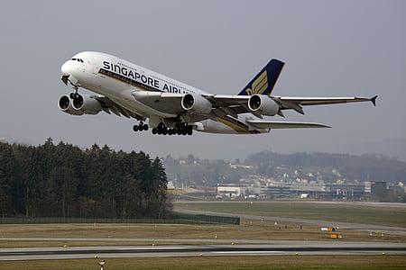 Singapore Airpline taking flight