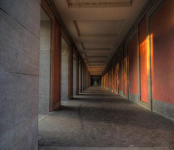 gray and orange concrete building interior